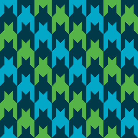 Classic houndstooth pattern with diagonal stripes of blue, green and dark blue.