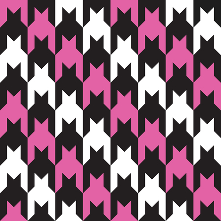 Classic houndstooth pattern with pink, black and white diagonal stripes repeats seamlessly.