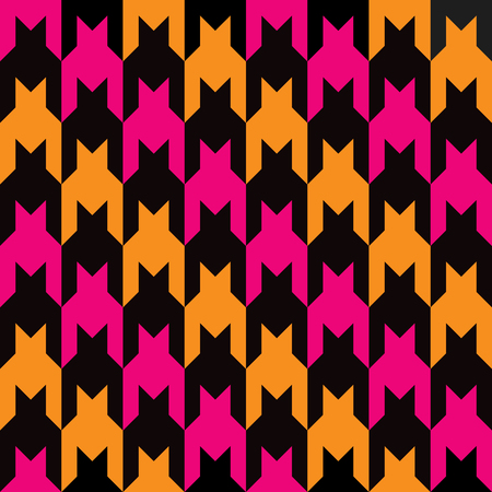 Houndstooth pattern with diagonal stripes of pink, orange and black repeats seamlessly. Colors are grouped for easy editing. Ilustrace