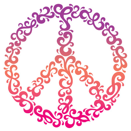 Peace symbol of swirly shapes in purple, yellow and magenta.