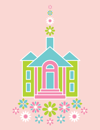 clipart chimney: Illustration of a stylized house and flowers.