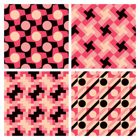 Collection of four seamless geometric patterns with a retro look.  Patterns are on separate layers, grouped by color and in the swatches panel.