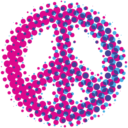 Peace symbol design in a pink and blue halftone dot pattern.