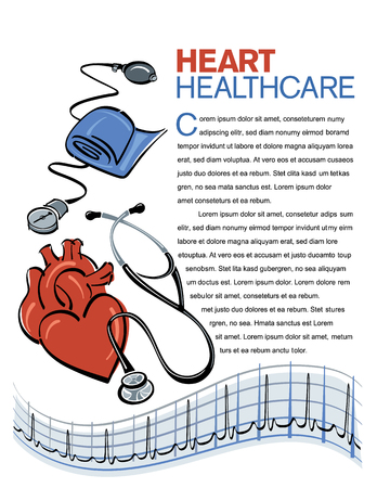 signos vitales: Heart healthcare page layout with illustrations of a human heart and heart monitoring equipment.