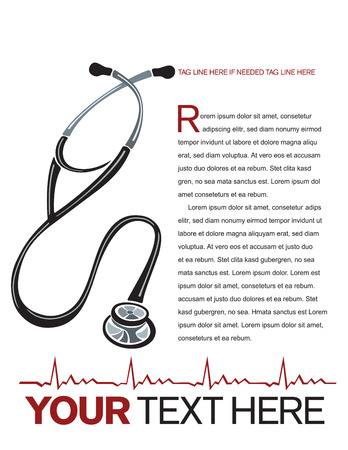 md: Health care page layout with stethoscope and heart graph. Illustration