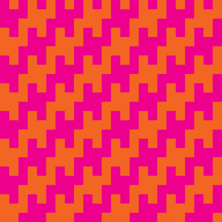 Houndstooth zigzag pattern in pink and orange repeats seamlessly. Ilustrace
