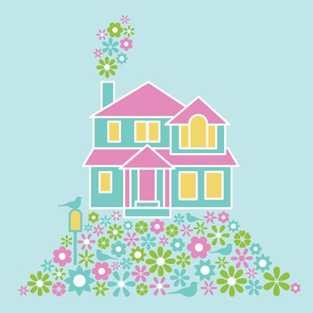 alegria: Ilustración de una casa con muchas flores y pájaros.