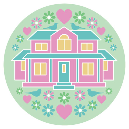 domiciles: Circular Illustration of a home surrounded with birds, flowers and hearts.
