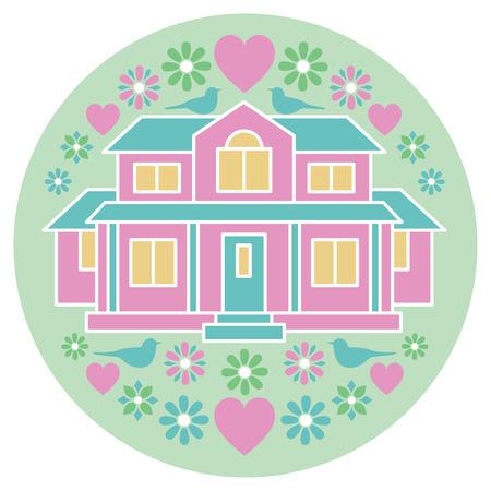 Rund Illustration eines Hauses mit Vögeln, Blumen und Herzen umgeben. Standard-Bild - 58109056