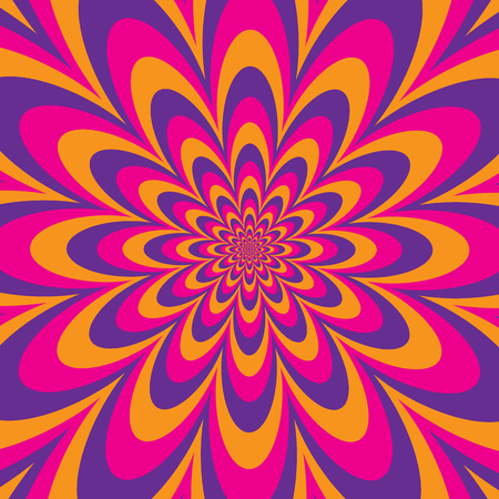 Floral optical illusion design in alternating stripes of magenta, orange and purple. Colors are grouped.