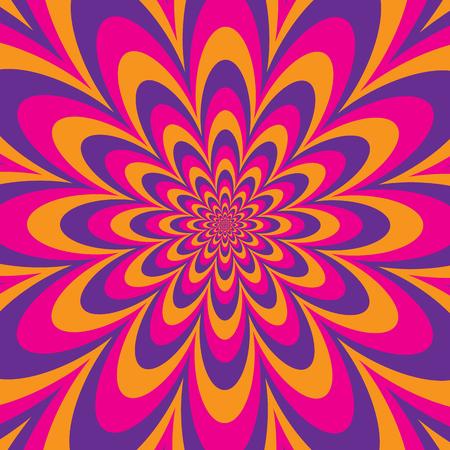 Diseño de ilusión óptica floral en franjas alternantes de magenta, naranja y morado. Los colores están agrupados.