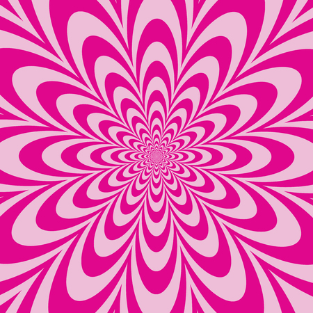 Floral optical illusion design in alternating stripes of pink.  Colors are grouped.