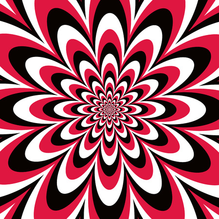 Floral optical illusion design in alternating stripes of red, black and white.  Colors are grouped.