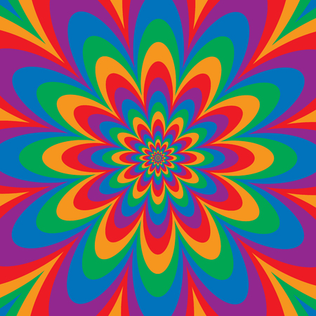 Floral optical illusion design in primary and secondary colors. Colors are grouped.