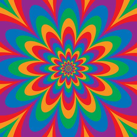 Ontwerp met bloemenoptische illusie in primaire en secundaire kleuren. Kleuren zijn gegroepeerd.
