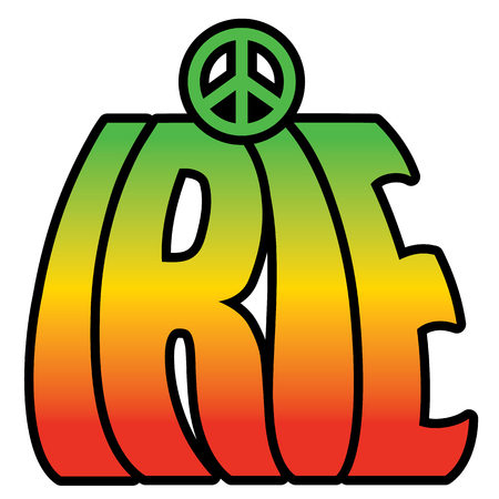 peace symbol: Retro-styled type design of IRIE with a peace symbol in reggae colors.