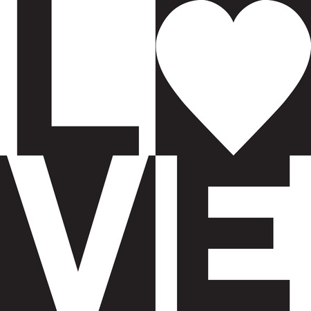 Minimalist text design of love with a heart symbol in black and white.