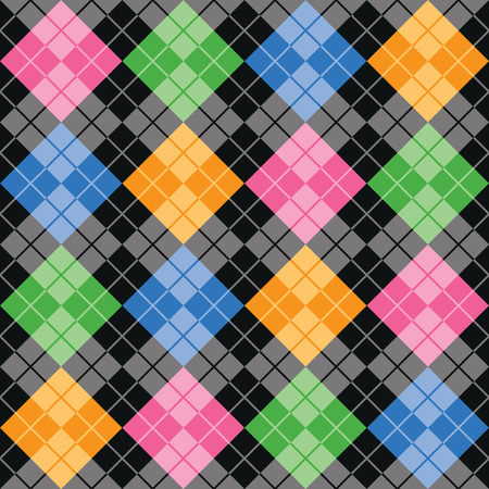 Multi-colored argyle pattern with color blocks of pink, blue, green and yellow on a black and grey background repeats seamlessly.