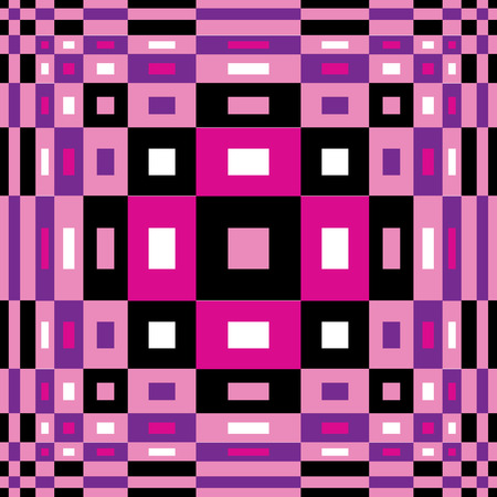 inflate: Expanding Op Art design in pink, purple, black and white. Illustration