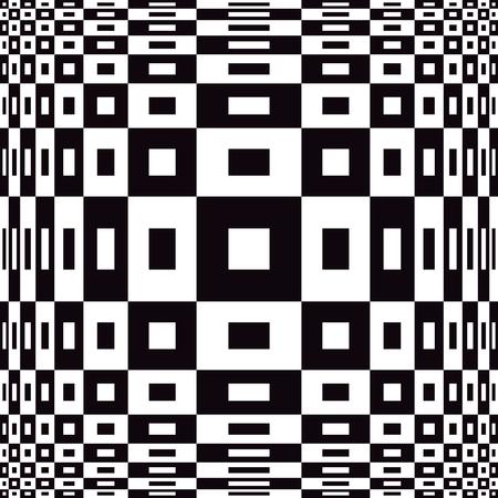 Expanding Op Art design in black and white. Illustration
