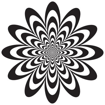 Op Art-gestileerde bloem in zwart-wit. Vector: Kleuren worden gegroepeerd voor eenvoudige bewerking.