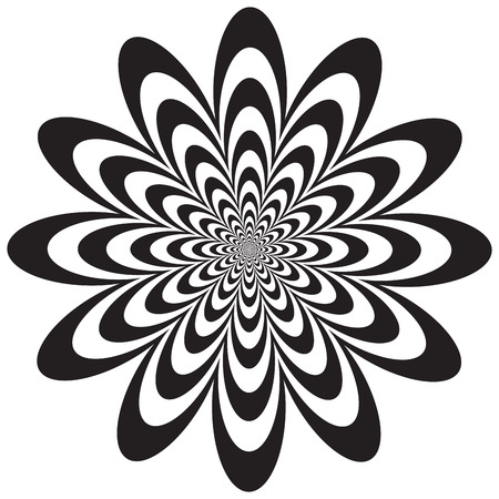 vanishing: Op Art-styled flower in black and white. Vector: Colors are grouped for easy editing.