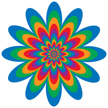 flower art: Op art floral optical illusion design in primary and secondary colors. Vector: Colors are grouped for easy editing.