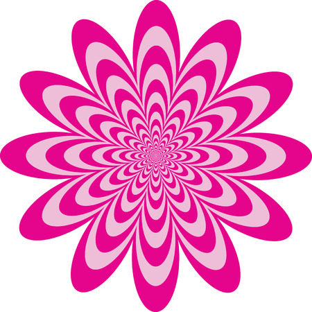Op Art flower optical illusion design in two shades of pink. Colors are grouped for easy editing.