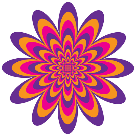 contracting: Op art floral optical illusion design in magenta, purple and orange. Vector: Colors are grouped for easy editing.