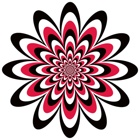 optical: Op art floral optical illusion design in red, black and white.. Vector: Colors are grouped for easy editing.