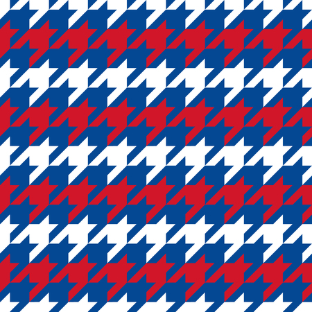 Patriotic Houndstooth Pattern in red, white and blue horizonal stripes repeats seamlessly. Ilustrace