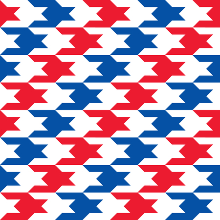Patriotic Houndstooth Pattern in red, white and blue diagonal stripes repeats seamlessly.