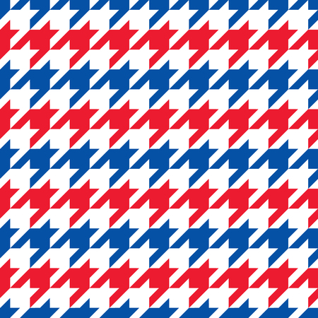Houndstooth pattern in stripes of red, white and blue repeats seamlessly.