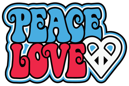 Retro-styled text design of PEACE and LOVE with a peace-heart symbol in patriotic colors. Reklamní fotografie - 58109170