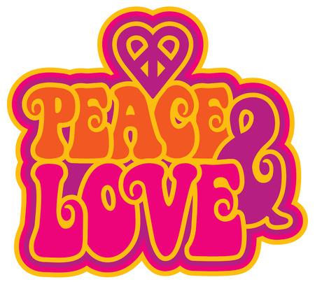 simbolo paz: Paz y del texto de estilo retro amor con un símbolo del corazón de la paz en púrpura, rosa, amarillo y naranja.