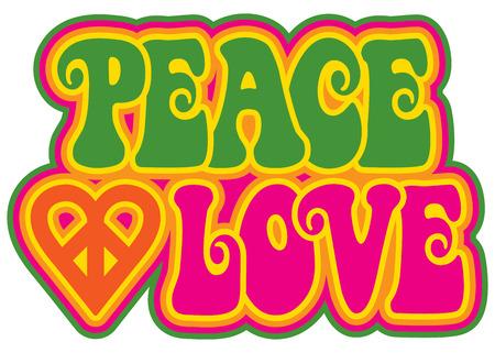 Pace e stile retrò disegno di testo amore con un simbolo del cuore di pace nel verde, rosa, giallo e arancione.