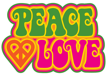 symbol: Peace and Love retro-styled text design with a peace heart symbol in green, pink, yellow and orange.