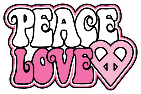 Retro-styled text design of PEACE and LOVE with a peace-heart symbol in pink.