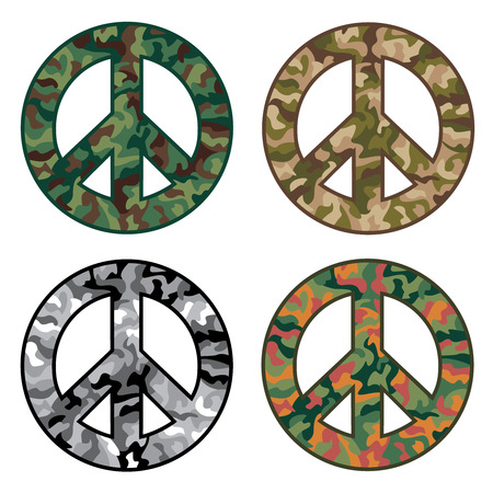 Collection of four camouflage patterns inside peace symbols.