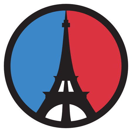 Eiffel Tower peace symbol in the colors of the French flag.