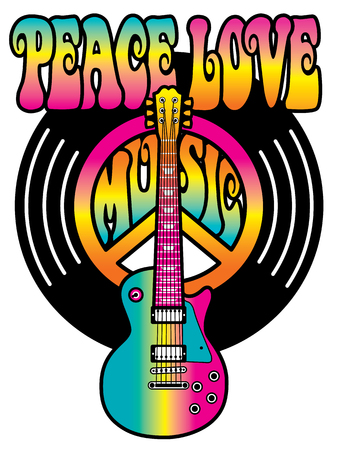 Retro-styled text design with a guitar, peace symbol and vinyl record in pink, orange and blue gradients.