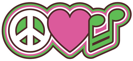Retro-styled icon design of a peace symbol, heart and musical note in pink, green, black and white.