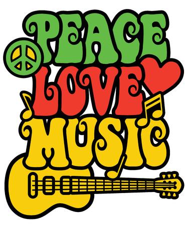 simbolo della pace: disegno di testo retro-styled con la chitarra, simbolo di pace, il cuore e note musicali in colori Rasta. Vettoriali