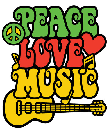 symbol of peace: Retro-styled text design with guitar, peace symbol, heart and musical notes in Rasta colors.