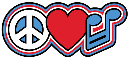 barred: Retro-styled icon design of a peace symbol, heart and musical note in red, blue, black and white.