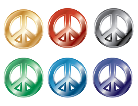 pop culture: Collection of 3D peace symbols in popular colors. Illustration