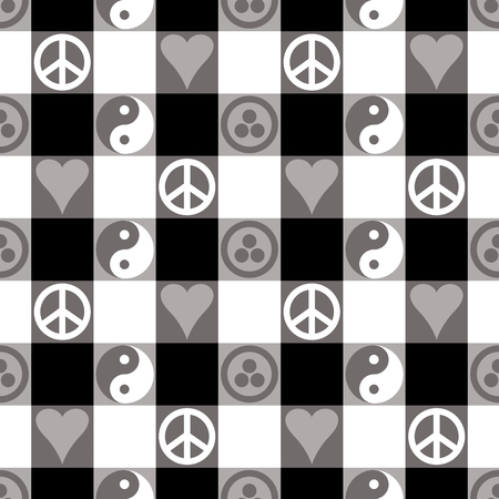 Peace Plaid seamless pattern in black with Yin Yang, heart and peace symbols and Banner of Peace