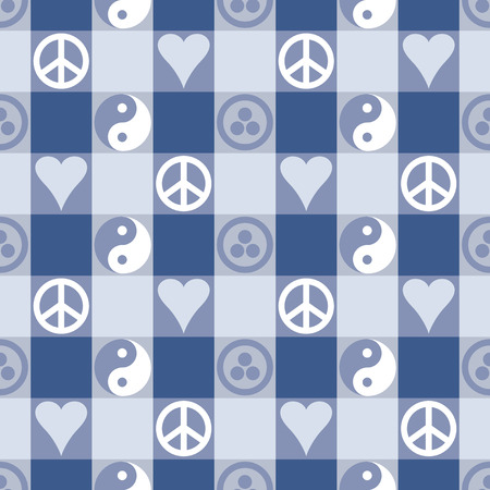 Peace Plaid seamless pattern in dark blue with Yin Yang, heart and peace symbols and Banner of Peace