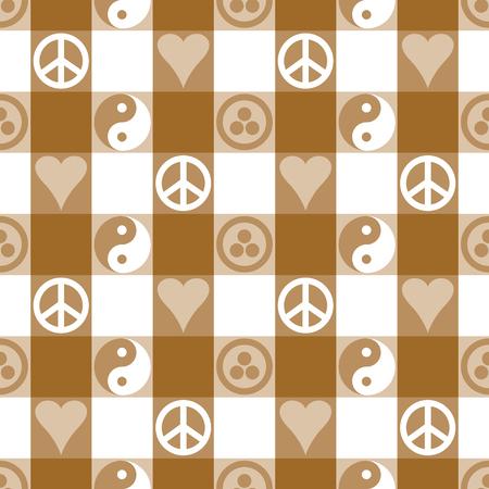 pacto: Modelo inconsútil de la tela escocesa de paz en marrón con Yin Yang, el corazón y la paz y símbolos Bandera de la Paz