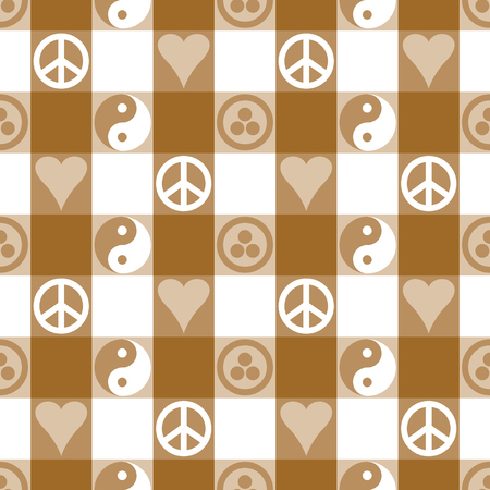 banner of peace: Peace Plaid seamless pattern in brown with Yin Yang, heart and peace symbols and Banner of Peace Illustration